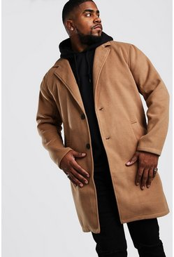 Big And Tall Unlined Wool Look Overcoat, Camel