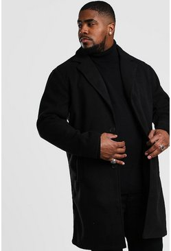 Big And Tall Unlined Wool Overcoat, Black
