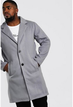Grey Big And Tall Unlined Wool Look Overcoat
