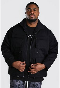 Chaqueta Utility con 4 bolsillos Big And Tall, Negro