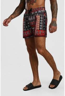 Red Mid Length Bandana Print Swim Short