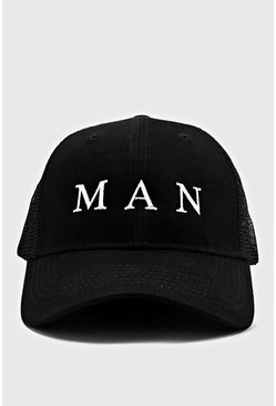 MAN Roman Trucker Cap, Black