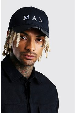 Black MAN Roman Material Interest Cap