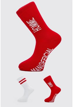 Red MAN Official 'Homme' 2 Pack Socks