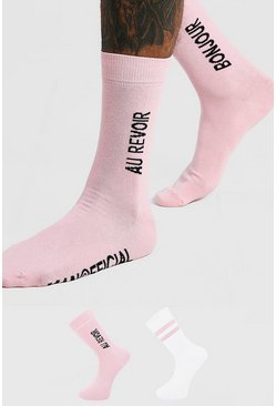 Pink MAN Official 'Bonjour' 2 Pack Socks