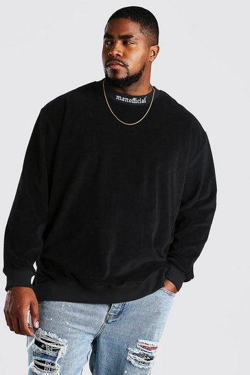Black Big And Tall Stepped Hem Sweater in Towelling