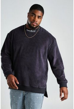 Slate Big And Tall Stepped Hem Sweater in Towelling
