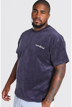 Camiseta holgada en toalla Big And Tall, Gris pizarra