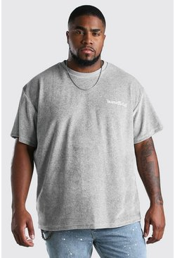 Grey Big And Tall Loose Fit T-Shirt in Towelling