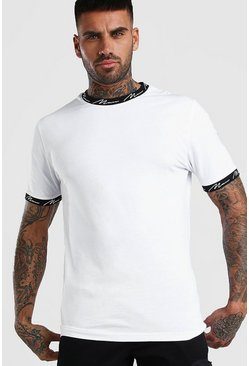 White MAN Signature Neck & Cuff Print T-Shirt