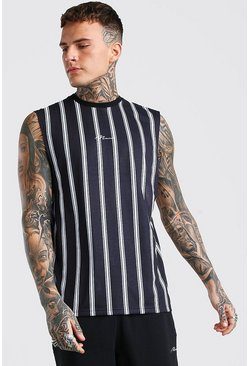 MAN Signature Drop Armhole Stripe Tank, Black