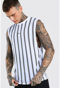MAN Signature Drop Armhole Stripe Tank, White