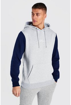 Colour Block MAN Signature Hoodie, Grey