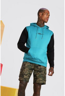 Teal Colour Block MAN Signature Hoodie