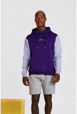 Purple Colour Block MAN Signature Hoodie