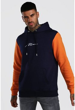 Orange Colour Block MAN Signature Hoodie