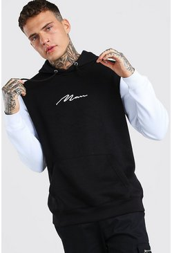 White Colour Block MAN Signature Hoodie