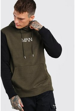 Colour Block Original MAN Hoodie, Khaki