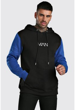 Blue Colour Block Original MAN Hoodie