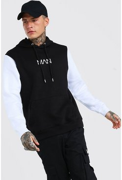White Colour Block Original MAN Hoodie