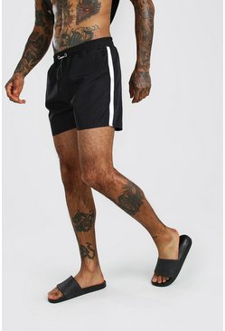 Black MAN Reflective Swim Short With Side Tape