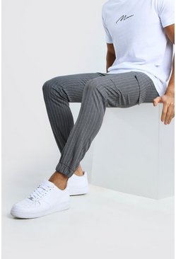 Grey Skinny Stripe Cargo Trousers