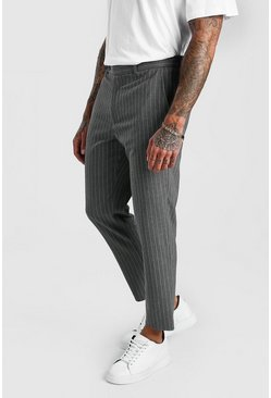 Grey Cropped Skinny Stripe Trousers