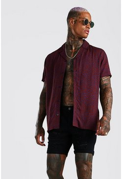 Short Sleeve Viscose Leopard Print Shirt, Rust
