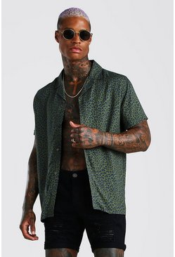 Khaki Short Sleeve Viscose Leopard Print Shirt