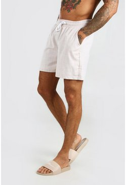 Taupe Textured Shorts