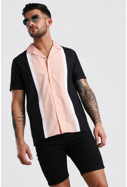 Peach Short Sleeve Revere Collar Colour Block Shirt