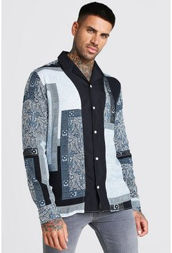 Blue Long Sleeve Revere Collar Tile Print Shirt