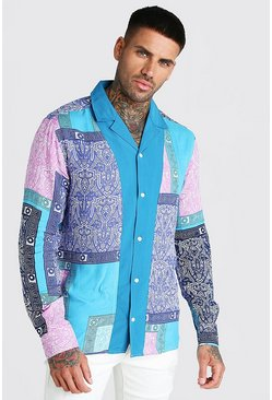 Long Sleeve Revere Collar Tile Print Shirt, Pink