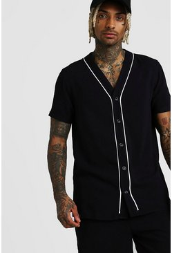 Black Short Sleeve Viscose Baseball Shirt & Short Set
