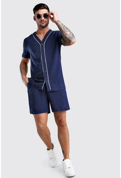 Navy Short Sleeve Viscose Baseball Shirt & Short Set