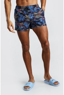Navy Mid Length Swim Short In Dragon Print