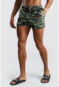 Khaki Mid Length Swim Short In Camo With Toggle Waist