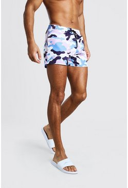 White Mid Length Swim Short In Camo With Toggle Waist