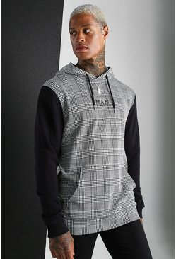 Black MAN Roman Hoodie With Jacquard Body Panel