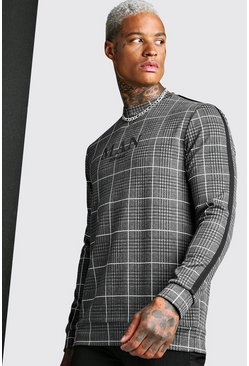 MAN Roman Jacquard Check Sweat With Tape, Black