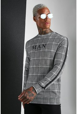 MAN Roman Jacquard Check Sweat With Tape, Blue