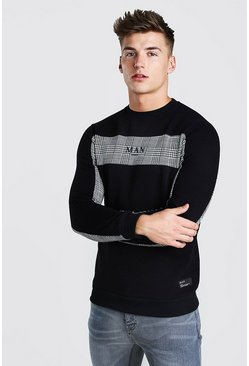 MAN Roman Sweatshirt With Jacquard Panels, Black