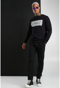 MAN Signature Jacquard Box Sweatshirt, Black