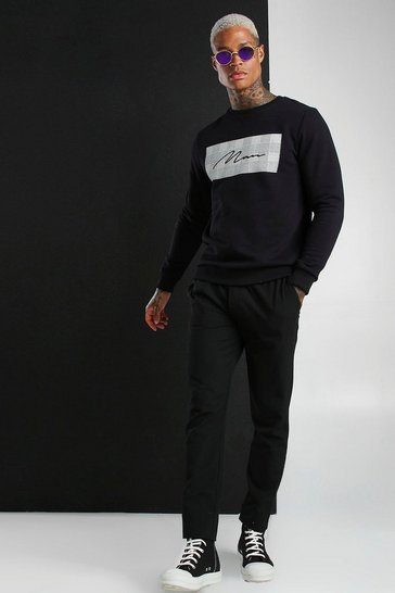 Black MAN Signature Jacquard Box Sweatshirt