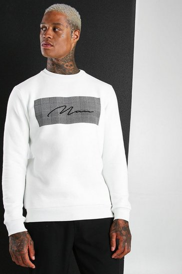 Ecru MAN Signature Jacquard Box Sweatshirt