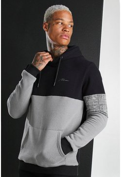 MAN Signature Colour Block Hoodie With Panels, Charcoal
