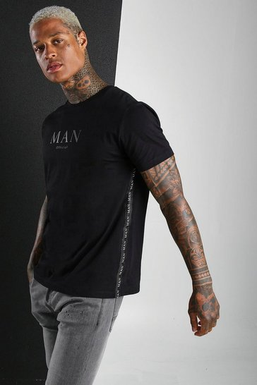 Black MAN Roman T-Shirt With Side Tape