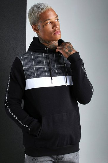 Black MAN Roman Jacquard Panel Hoodie With Tape
