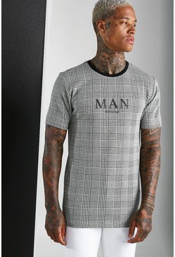 Black MAN Roman Jacquard Check T-Shirt
