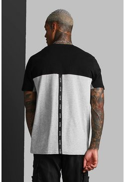 Grey MAN Roman Colour Block T-Shirt With Back Tape
